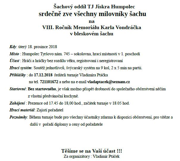 Pozvánka na VIII. memoriál Karla Vondráčka 2018